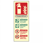 Photoluminescent AFFF Foam Fire Extinguisher Sign