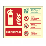 Photoluminescent Hydrospray Fire Extinguisher Sign