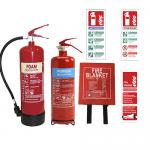 2KG ABC Dry Powder, 6LTR AFFF Foam Fire Extinguishers, 1.8m x 1.2m Hard Case Fire Blanket & Extinguisher ID Signs