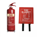 2LTR AFFF Foam Fire Extinguisher & 1.0m x 1.0m Hard Case Fire Blanket